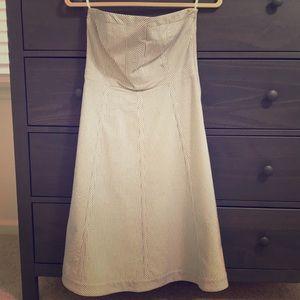 Strapless seersucker dress